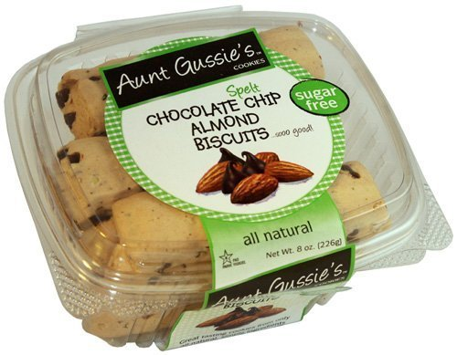 Aunt Gussie's Sugar Free Spelt Chocolate Chip Almond Biscotti, 8 Ounce Tub (Pack of 4) by Aunt Gussie's (Almond Sugar Free Biscotti)
