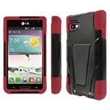 MPERO IMPACT X Series Kickstand Case for LG Optimus F3 - Black / Red MS659 (Compatible with T-Mobile & MetroPCS version ONLY)