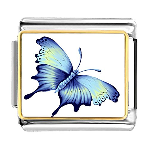 GiftJewelryShop Gold Plated Beautiful Lovely Butterfly Bracelet Link Photo Italian Charms