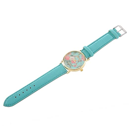 Amazon.com: SODIAL(R) Fashion Faux Leather Rose Flower Watch Mint Green: Watches