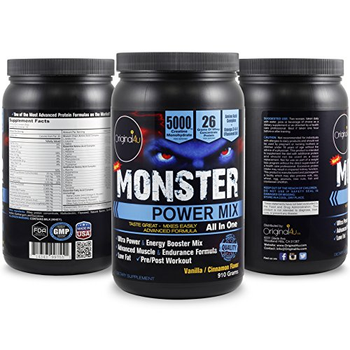 Monster POWER MIX (ALL IN ONE) – The Complete Energy ,Power & Endurance Formula with Protein, Carbohydrates, Creatine,Amino Acids,