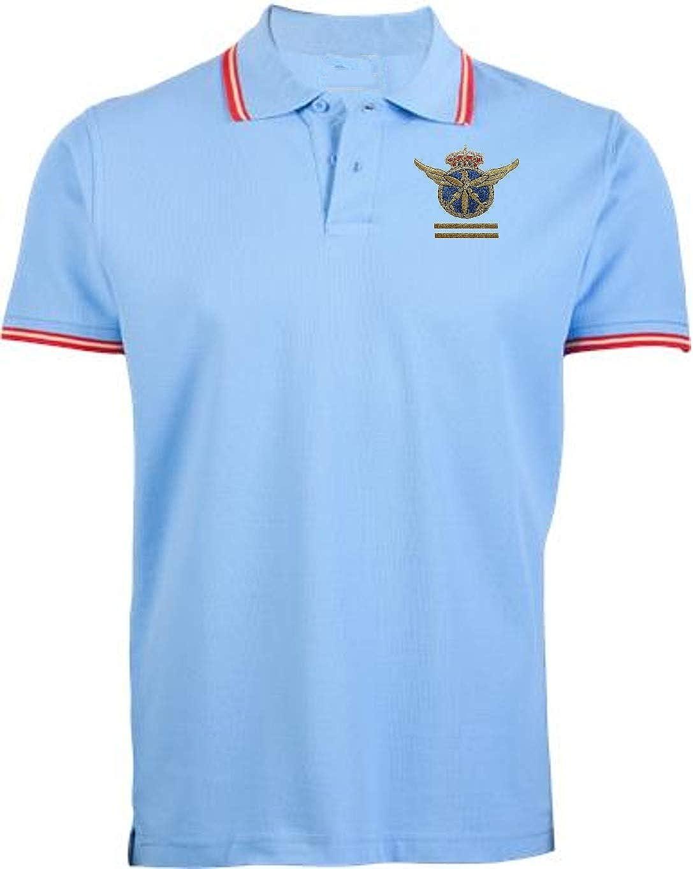 dicep Piloto Aviación PPL (2 GALONES) - Polo Bandera España + Gorra (Celeste - Dorado, XL)