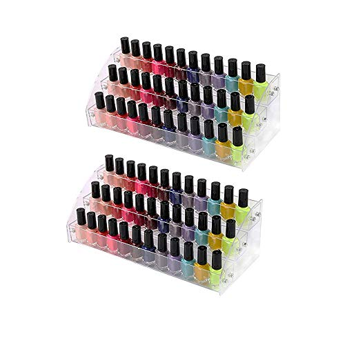 3 Tiers 2PCS Clear Acrylic Nail Polish Holder Essential Oils Stand Lipstick Makeup Desktop Organizer Candy Storage Retail Store Display Brochure Space Saver Agentia Container Exhibition Sample - Oils Essential Nails