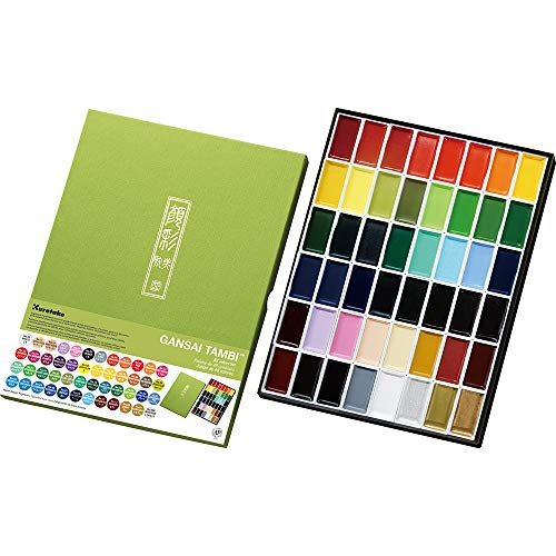 Kuretake GANSAI TAMBI Watercolor 48 Colors Set, Handcrafted, Professional-Quality Pigment Inks for Artists and Crafters, AP-Certified, Blendable, Show up on Dark Papers, Made in Japan