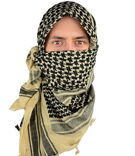 Mato & Hash Military Shemagh Tactical 100% Cotton Scarf Head Wrap - Tan/Black CA2100-2