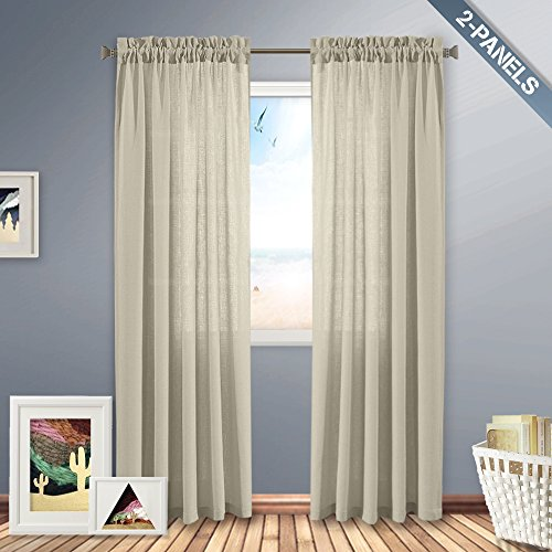 Casual Weave Textured Semi Sheer Curtains 84 Rod Pocket White Window Curtains/Drape/Panels/Treatment, (Set of 2, W54