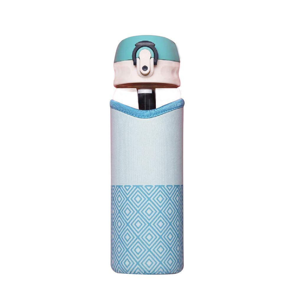 Sunkey ガラス製ウォーターボトル 17オンス ホウケイ酸断熱 ネオプレン製スリーブ フリップ蓋付き オフィス アウトドア インドア用 B07H6C4PRM ブルー