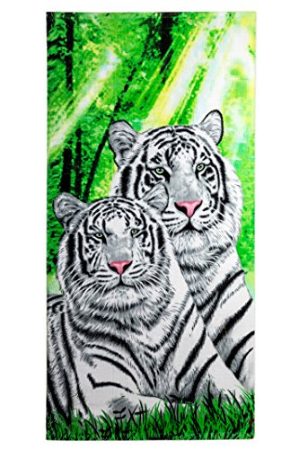 White Tiger Print Beach Towel 100% Cotton 30