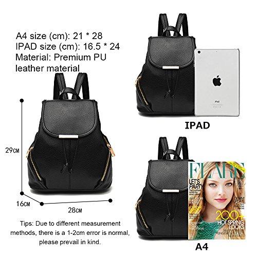 (JVP1028-B) Mujeres Luc PU cuero negro anillo impermeable 3way bolso trasero bolso de hombro simples grandes capacidades viaje atrás Moda popular lindo ligero viajero de la escuela Rosa