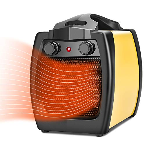 TRUSTECH Space Heater – 2 In 1 Ceramic Heater, 1500W Electric Heater, Fan Heater, Fast Heating, Thermostat Adjustable, Overheat and Tip-Over Protection, Indoor Portable Heater for Home, Office, Garage