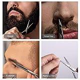 Beard Scissors, Stainless Steel Scissors for Beard, Mustache, Eyebrow, Nose Hair by HAWATOUR
