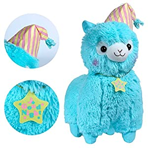 "KSB 20"" Giant Huge Blue Good Night Plush Alpaca With Locket And Nightcap,Cute Soft Stuffed Animals Cushion Toy Doll,Best Birthday Gifts For The Children Kids Over 1 Years - 51bOYI4ONhL - Alpacasso 17"" Blue Plush Alpaca, Cute Stuffed Animals Toys.(Nightcap)"