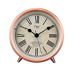 JUSTUP Small Table Clocks, 4in Rose Gold Retro Classic Non-Ticking Tabletop Alarm Clock Battery Operated Desk Clock with Backlight HD Glass for Indoor Decor (Roman)
