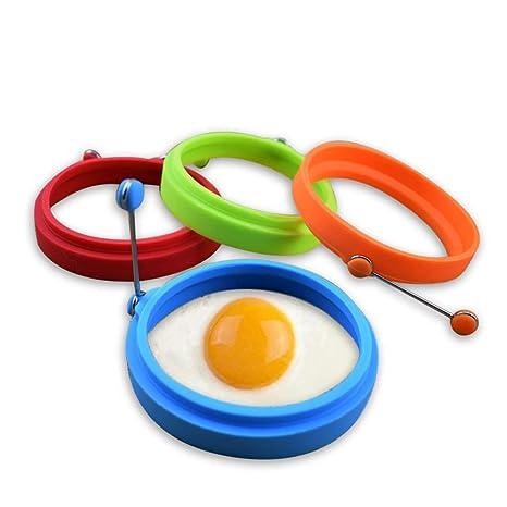Lyanther Anillos de Huevo de Silicona Antiadherente Ronda Antiadherente Molde de Huevo Frito Anillos de Cocina