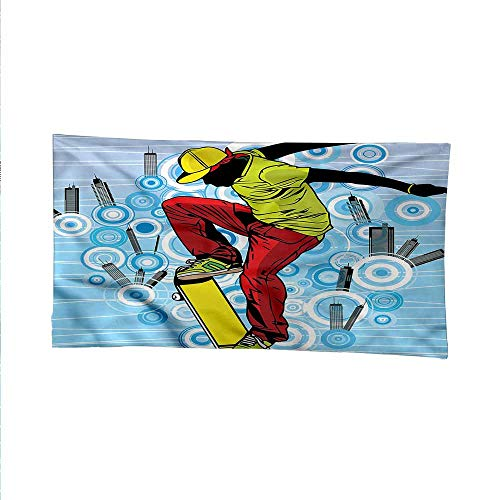 Youthoutdoor tapestryceiling tapestryTeenager on Skateboard 84W x 54L Inch
