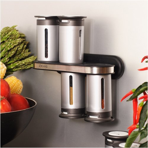 Zevro 8-pc. Magnetic Spice Rack - Silver