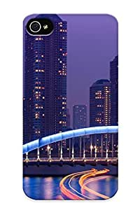 High-quality Durable Protection Case For Iphone 4/4s(japan Tokyo Exposer Rivers Water Reflection Bridges Architecture Buildings Skyscrapers Night Lights ) For New Year's Day's Gift