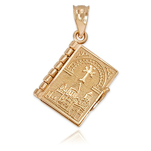 Religious Jewelry by FDJ Polished 14k Gold 3D Armenian Holy Bible Book w/Lord's Prayer Inside Charm Pendant
