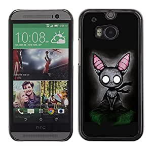 PC/Aluminum Funda Carcasa protectora para HTC One M8 Cat Grey Feline Witch Fairytale Art Big Ears / JUSTGO PHONE PROTECTOR