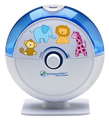 PureGuardian H1010BL 14-Hour Ultrasonic Cool Mist Humidifier, Table Top, Blue with Kids Decals by Guardian Technologies