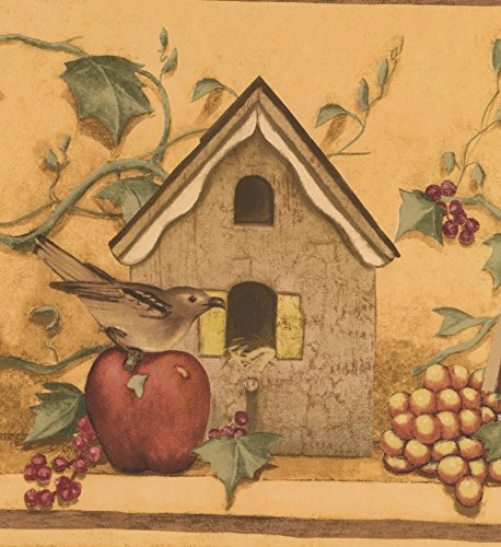 Vintage Birdhouses Fruits Brown Birds Mustard Yellow Wide Wallpaper Border Retro Design, Roll 15' x 10.25'' ()