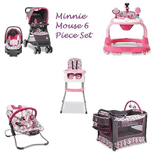 Disney Newborn Play Yard - 6 Piece MINNIE MOUSE NURSERY SET Stroller Car Seat Travel System , Play Yard Crib, Walker, HIgh Chair and Bouncer