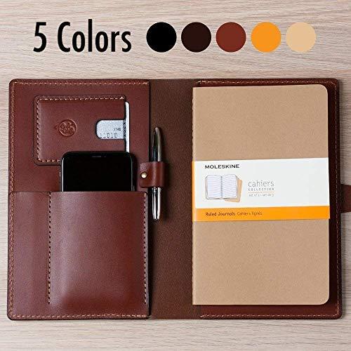 Coal Creek Leather Portfolio, Leather Journal for Moleskine 8.25 x 5 Notebooks - Wickett & Craig Full Grain Leather/Moleskine Notebook Case / JRNL1 / Personalized