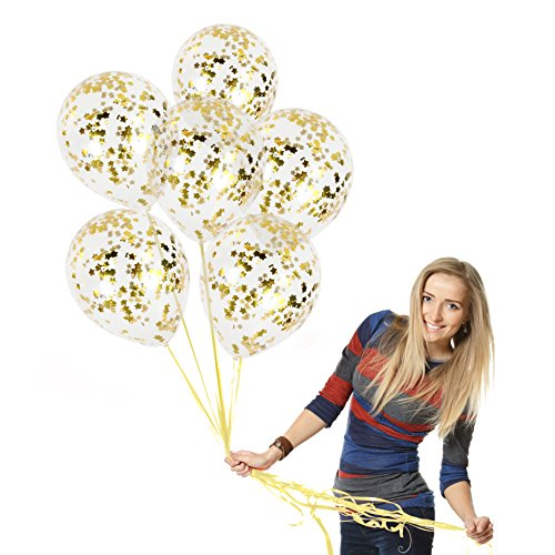Treasures Gifted Gold Glitter Star Confetti Balloons Set Bouquet for Baby Shower Birthday Elegant Party Graduation Wedding Celebration Decorations ()