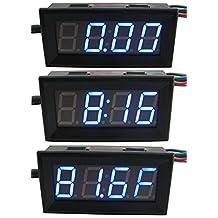 "Yeeco 3in1 0.56"" DC 0-200V Digital Voltmeter Voltage Panel Meter -67-257°F Fahrenheit Temperature Meter 24-hour Electronic Clock Car Motor Blue LED Display with Waterproof Probe"