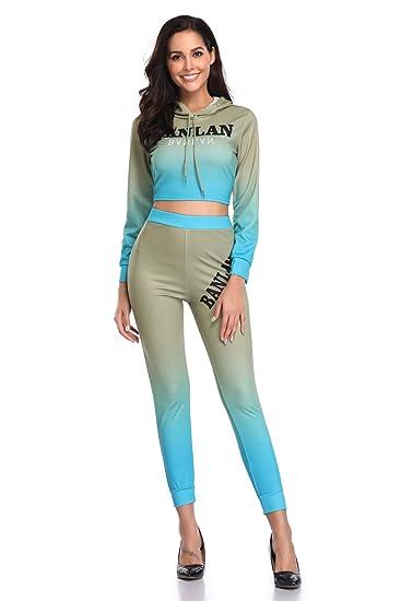 decc3ef838624 Amazon.com  HAOAN Women 2 Piece Letter Print Outfits Hoodie Gradient ...