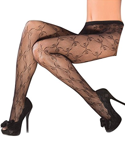 Coquette 1790 Women's Bow Detail Fishnet Tights Pantyhose - One Size - Black