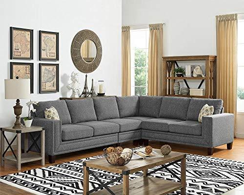 LILOLA Bradford Fabric Sectional Sofa Light Gray