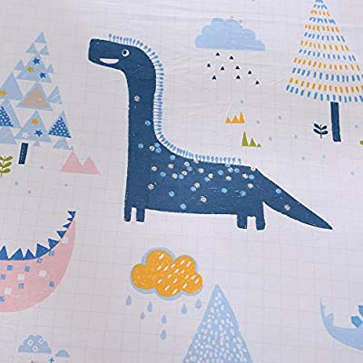 ENCOFT Dinosaur Bedding White and Blue Reversible 100% Cotton Lightweight 3 Pieces Kids Duvet Cover Set for Boys and Girls Full Size, No Comforter (Full/Queen, White): Home & Kitchen