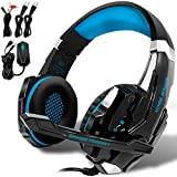 KOTION EACH GS900 Gaming Headset for XBOX 360 One PS3 PS4 PC Computer Laptop Mobile Phones, AFUNTA Multi-function Over Ear Playstation 4 7.1 surrounded Headphone With Mic 3.5mm Jack Revolution Volume Control Noise Canceling--Black+Blue