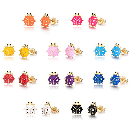 10Pairs/8Pairs 18K Gold Plated Small Cute Simple Post Stud Earrings Set for Girls Kids Gold Tone Mix and Match (ladybird)
