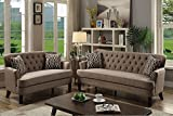 2Pcs Modern Luxury Mocha Dorris Fabric Sofa Loveseat Set with a single panel back support with button tufting
