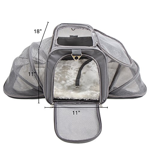Jet-Sitter-Luxury-Expandable-Pet-Carrier-V2-Airline-Approved-Improved-Durable-Mesh-Dogs-and-Cats-TSA-airplane-in-cabin-under-seat-18x11x11-Dark-Gray