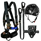 Fusion Climb Tactical Edition Kids Commercial Zip Line Kit Harness/Lanyard/Trolley/Helmet Bundle FTK-K-HLTH-10