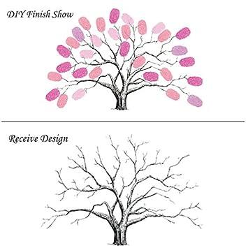 Personalizado Lienzo árbol de boda huella digital libro de invitados ...