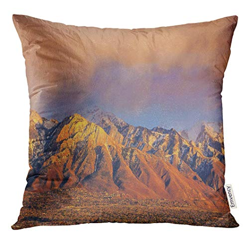 PILLOWCASES K Throw Pillow Cover Blue Trees Spring Sunset in The Wasatch Mountains Above Salt Lake City Utah USA Green Landscape Decorative Pillow Case Home Decor Square 18x18 Inches -