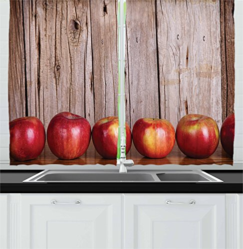 Ambesonne Fruits Kitchen Curtains, Apples in a Row Against a Rustic Vintage Wooden Timber Wall Delicious Artwork Print, Window Drapes 2 Panel Set for Kitchen Cafe Decor, 55