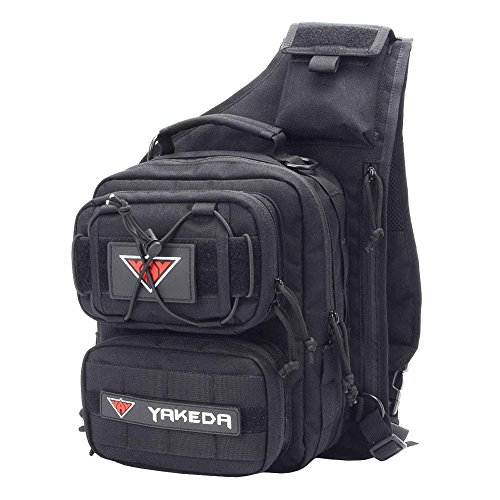 YAKEDA Outdoor Tactical Shoulder Backpack, Military & Sport Bag Pack Daypack for Camping, Hiking, Trekking, Rover Sling--KF043 (black)
