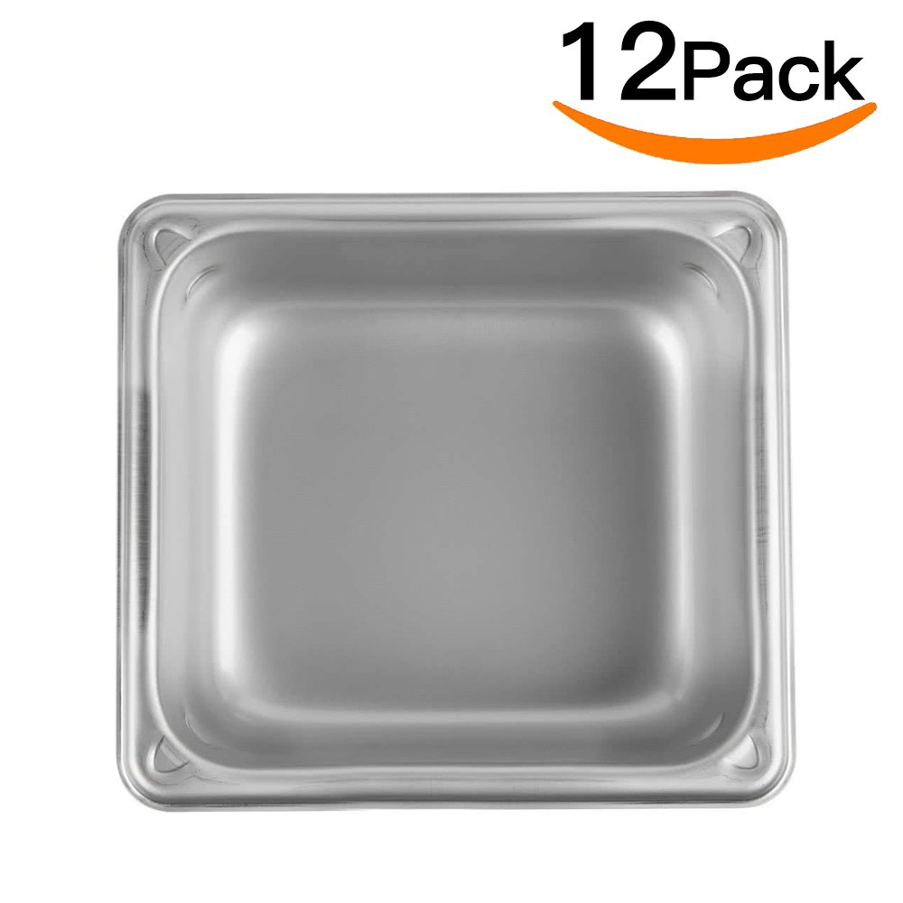 Stainless Steel Steam Table pan 1/6 Size,MIXRICE A2162 Stainless Steel Steam Table pan 2'' Deep and 12 Pieces Per Carton Buffet Food Pans food pan Pack of 12 by ATOSA US