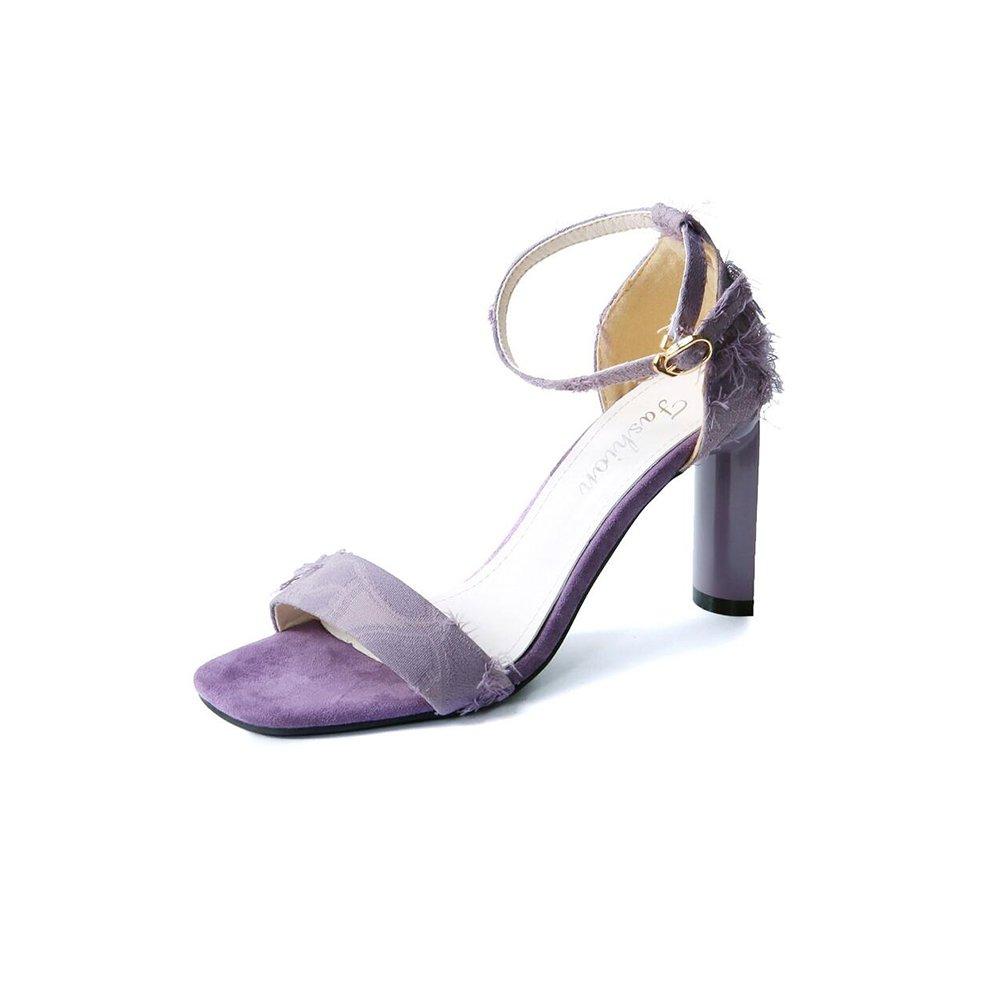 DALL Pumps Reine Farbe Damenschuhe Rau Ferse High Heels Hausschuhe Sandalen Elegant und Komfortabel 9 cm Hoch (Farbe   Lila, Größe   EU 35 UK 3.5 CN 35)