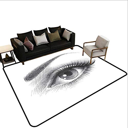 Custom Pattern Floor mat,Pencil Drawing Artwork of a Staring Female Eye with Long Lashes and a Curvy Eyebrow 6'x7',Can be Used for Floor - Impala Eyebrow