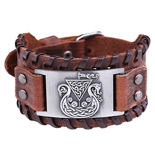 HAQUIL Viking Jewelry Celtic Symbol Dragon Knotwork Bracelet for Men