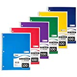 Mead Spiral Notebook, College Ruled, 1 Subject, 100 Sheets, 11 x 8.5, Assorted Colors