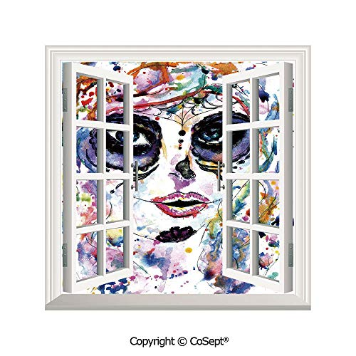 SCOXIXI Window Wall Sticker,Halloween Girl with Sugar Skull Makeup Watercolor Painting Style Creepy Decorative,3D Window View Decal Home Decor Deco Art (26.65x20 inch)