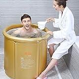 Gold / Pink Inflatable Folding Bathtub Thicker Plastic Bath Tub Adult Children Home Bath Bucket ( Color : Gold , Size : Ø65cmH75cm )