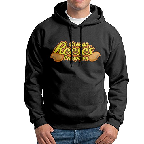 FALKING Men's Funny Cotton Reese's Cup Logo Pullover Sweatshirt M Black (Reeses Peanut Butter Cup Pie compare prices)